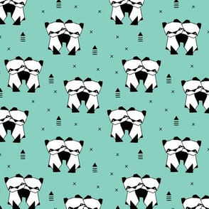 Origami animals cute panda geometric triangle and scandinavian style print black and white mint SMALL