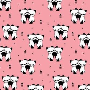Origami animals cute panda geometric triangle and scandinavian style print black and white pink SMALL