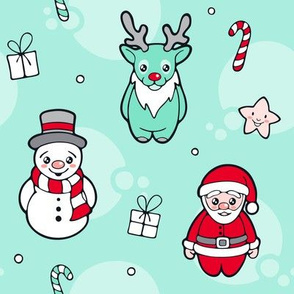 Christmas Santa Claus Reindeer and Snowman