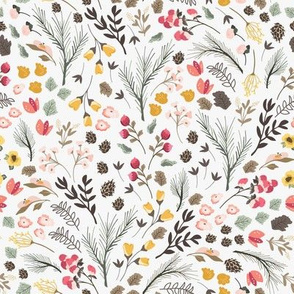 woodland forest thicket meadows floral pine branch design