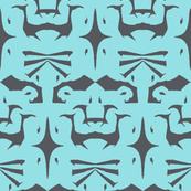 Island Tribal Print 5 Charcoal on Blue