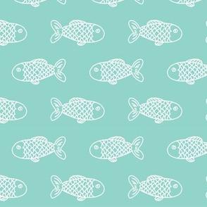 mint fish fish fabric mint fabric fish nautical ocean