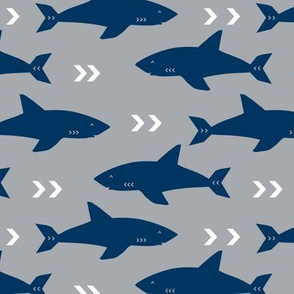 shark navy and grey fabric fish sharks navy fabric