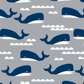 whales navy and grey fabric grey fabric ocean nautical animals fabric
