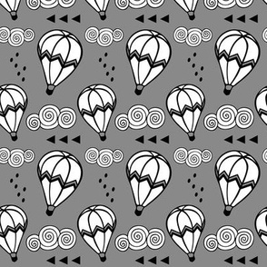 Hot air balloon // Charcoal background