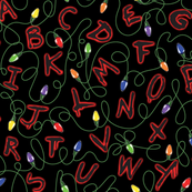 Alphabet with lights on black with red glow