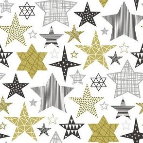Stars Geometric Winter Fall Holiday Christmas Black & White Gold