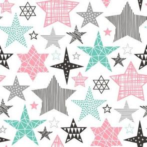 Stars Geometric Winter Fall Holiday Christmas Black & White  Mint Pink