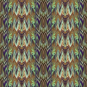 Tearful Ogre Bargello, brown, tan, purple and green, small