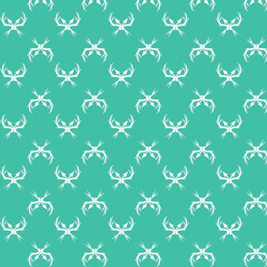 Teal and White Deer Racks with Arrows