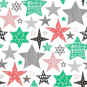Stars Geometric Winter Fall Holiday Christmas Black & White Red Green
