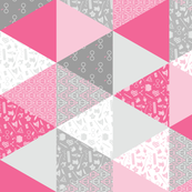 Pastel Potter Cheater Quilt - Pink & Gray