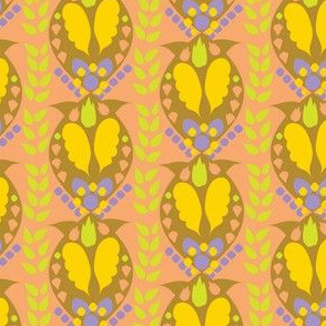 Peach Gold Periwinkle Lime Paisley