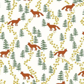 Fall forest foxes in rust on white