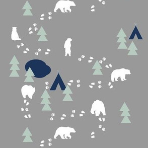 Bear Trail // navy and mint on grey