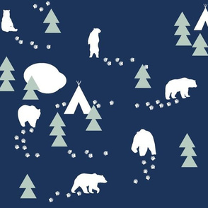 Bear Trail //mint and white on navy