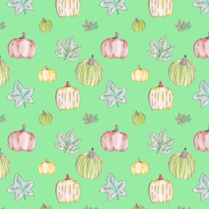 Pumpkin Pattern on Green Background