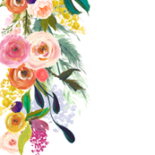 Melissa's Autumn Floral Border (Small) // white
