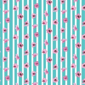 Cherry Blossom on Light Blue Stripe