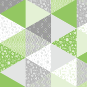 Pastel Potter Cheater Quilt - Green & Gray