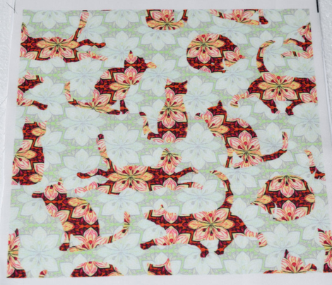 Red Orange Floral Cats on Mint Green Flowers