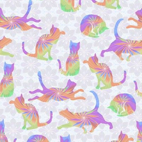 Pastel Rainbow Cats on pale Flowers