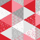 Pastel Potter Cheater Quilt - Red & Gray