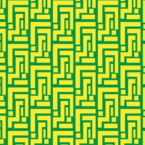 Green Geometric on Lemon background