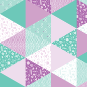 Pastel Potter Cheater Quilt - Purple & Teal