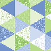 Pastel Potter Cheater Quilt - Green & Blue