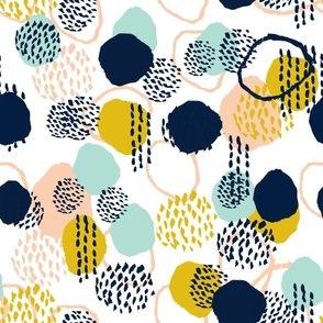 abstract painted dots navy blue peach gold mint fabric