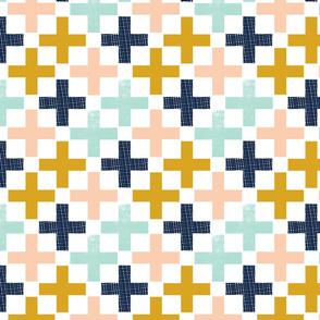 plus swiss cross navy blue mint peach gold fabric swiss cross fabric nursery fabric trendy nursery design