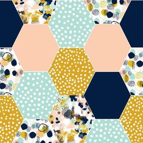 hexagon quilt top cheater quilt hexagon abstract hexies cheater quilt crib sheet fabric navy blue mint blush