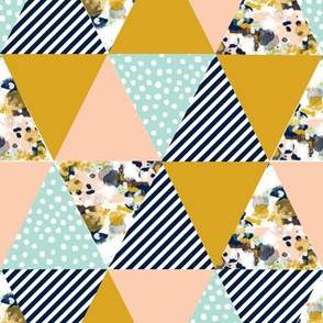 triangles quilt triangle quilt fabric navy blue mint blush gold fabric crib sheet baby nursery nursery baby quilt