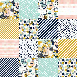 """wholecloth quilt squares 6"""" squares abstract navy blue mint blush nursery baby crib sheet fabric baby nursery fabric baby blanket fabric"""