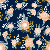 navy blue florals flowers fabric nursery fabric flowers fabric floral fabric painted fabric nursery florals les fleurs fabric peach gold mint