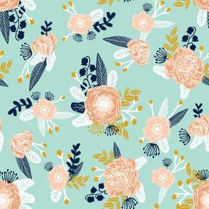 mint florals fabric nursery fabric les fleurs fabric flowers fabric flower fabric mint peach gold navy blue fabrics
