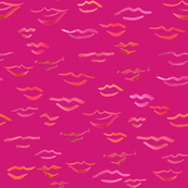 kissy lips on hot pink