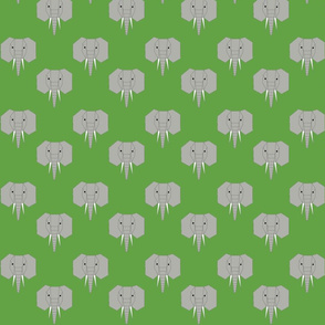 Geometric Elephant on Green