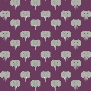 Geometric Elephant on Purple
