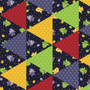 Baby Dragons Cheater Quilt -  Dark