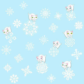 kittens and snowflakes on pale blue