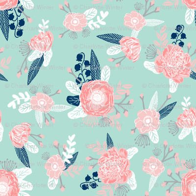 Pink and mint florals baby girls nursery baby fabric cute for Pink nursery fabric