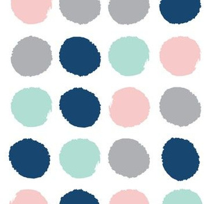 painted jumbo dots navy and mint pink dots cute girls baby girl nursery baby