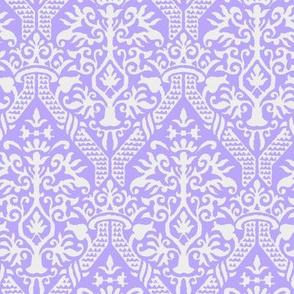crowning damask stencil violet