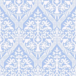 crowning damask stencil blue