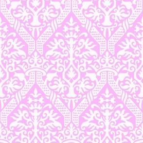 crowning damask stencil  pink
