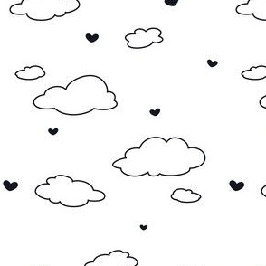 Clouds and Hearts (Black and White)