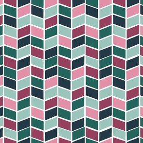 Mint and Pink Chevron