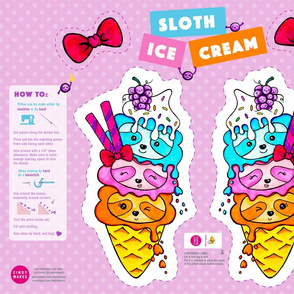 Sloth Ice Cream Pillow